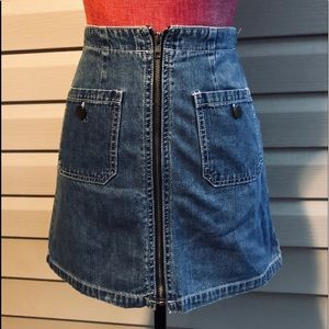 Vintage Mini Skirt 80s 90s Denim Jean Extra Zipper